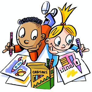 A kid in an orange shirt with dark, short curly hair drawing a rocket ship and planet and a long haired blonde child drawing a pink castle. A box of crayons sits between them.