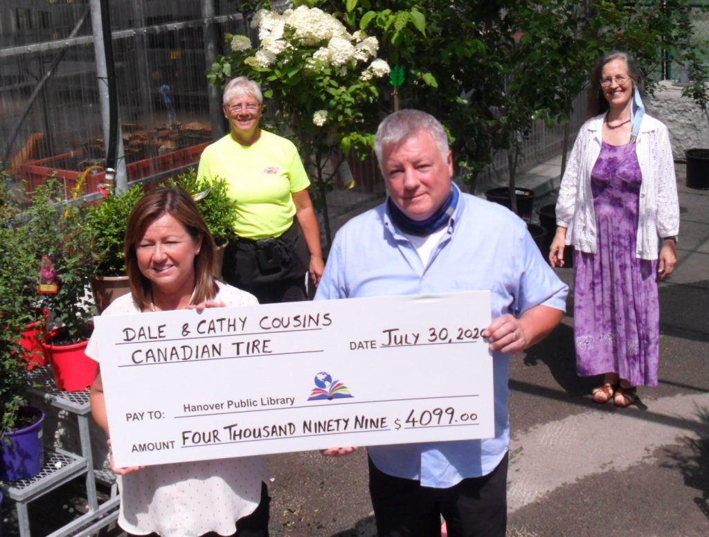 cheque presentation from Hanging Basket Sales 2020.