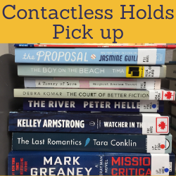 Contactless holds pick up. Links to library doors are open post on website.