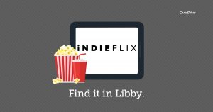 Indieflix library collection web button. Link opens to libby app.