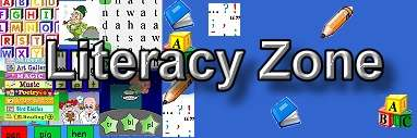 Literacy Zone logo on home work helpers page.