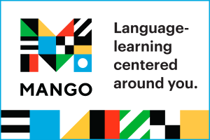 Mango languages web button. Language learning centered around you.