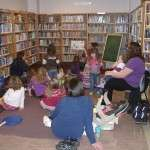 story time in the children's area of the library