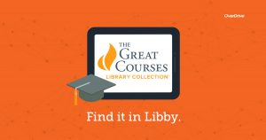 the great courses library collection web button. Link opens to libby app.