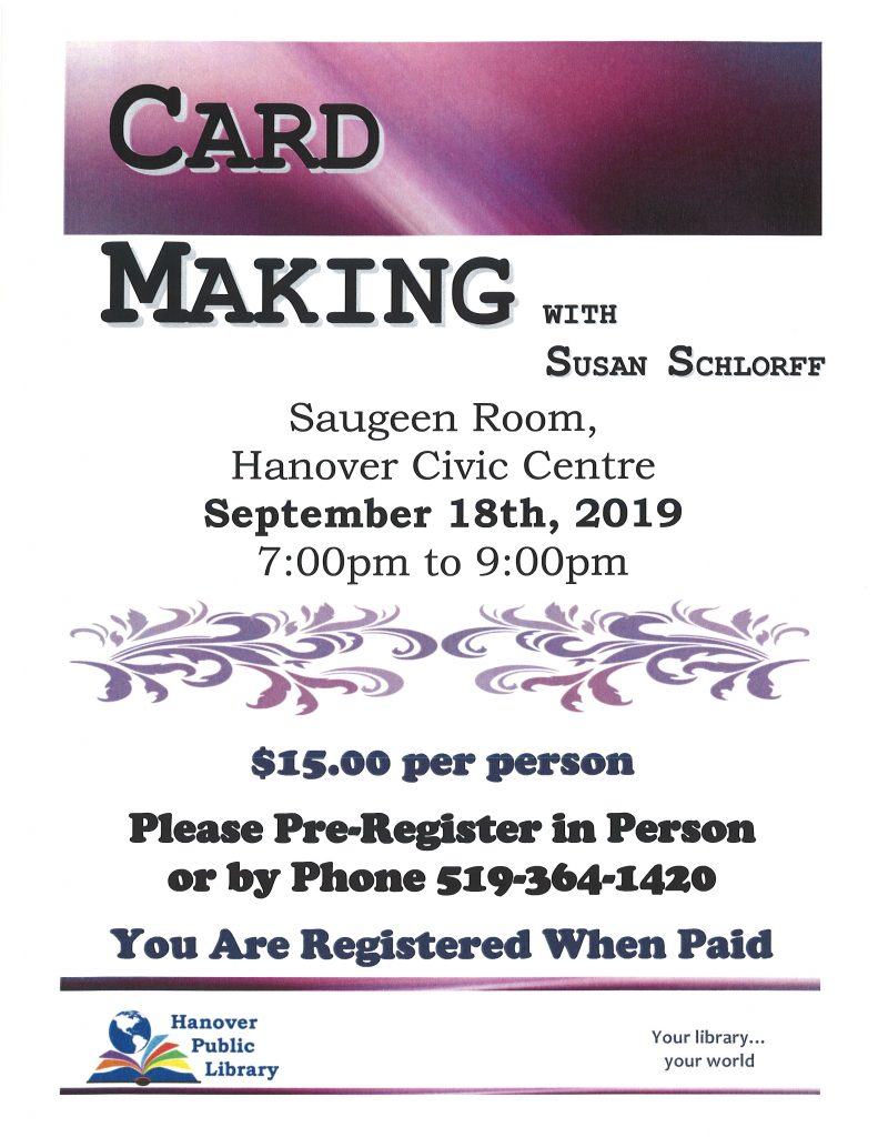flyer for card making with Susan Schlorff