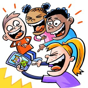 Four Children; a short light brown haired child in an orange shirt, a short haired child with two buns and a pink shirt, a short haired child with black fluffy hair in a blue shirt and a long haired blonde kid with a ponytail and a purple shirt with freckles. The girl with the blonde hair is holding a phone with a picture of a cat in a shirt that all the children are laughing at. Image on coding page.
