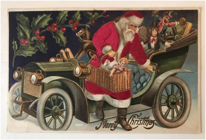 Santa with toys in classic car. flyer image for memories of christmas past event.