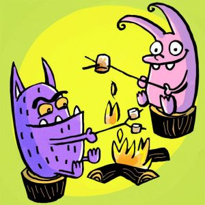 A pink monster and a purple monster roast marshmallows on a fire.