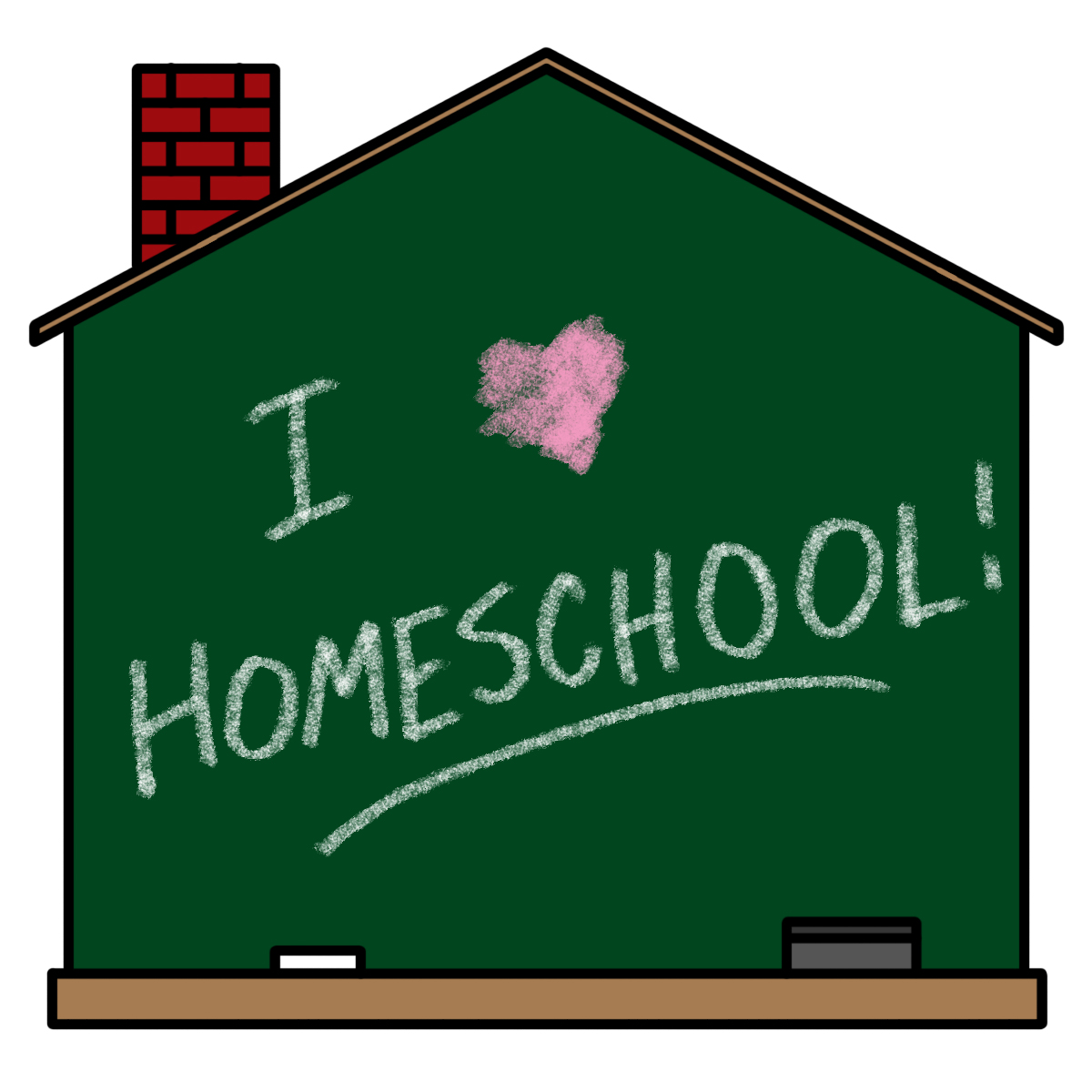 Chalkboard with I love homeschool written on it.